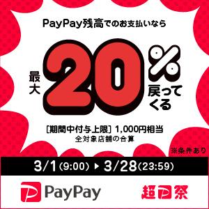 超PayPay祭開催!3/1(月)~28(日)はPayPayでのお買い物がお得に!